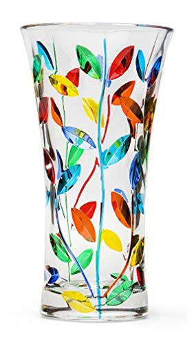 Murano Glass Large Tree of Life Vase - Hand Painted, Made in ()