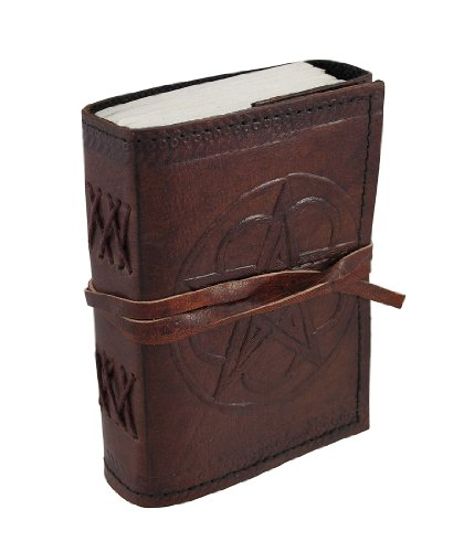 Embossed Leather Pentacle Journal with Leather Cord 3 1/2 in. X 5 in.