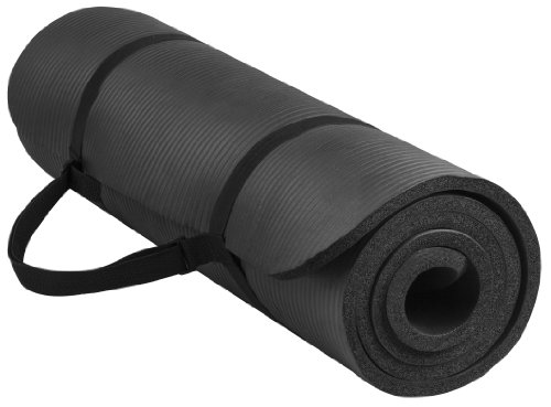 BalanceFrom BFGY-AP6BLK Go Yoga All Purpose Anti-Tear Exercise Yoga Mat with Carrying Strap