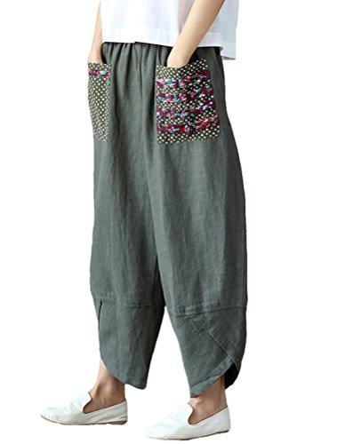 Linen Crop Pants - Minibee Women's Baggy Linen Wide Leg Trousers Casual Patchwark Elastic Waist Harem Pants Army Green M