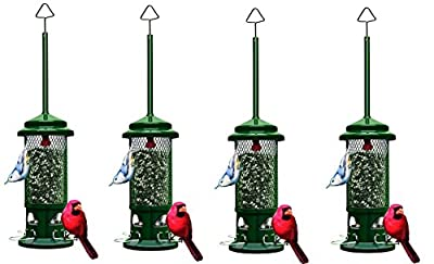 """Squirrel Buster Standard 5""""x5""""x21.5"""" (w/hanger) Wild Bird Feeder with 4 Metal Perches, 1.3lb Seed Capacity"""