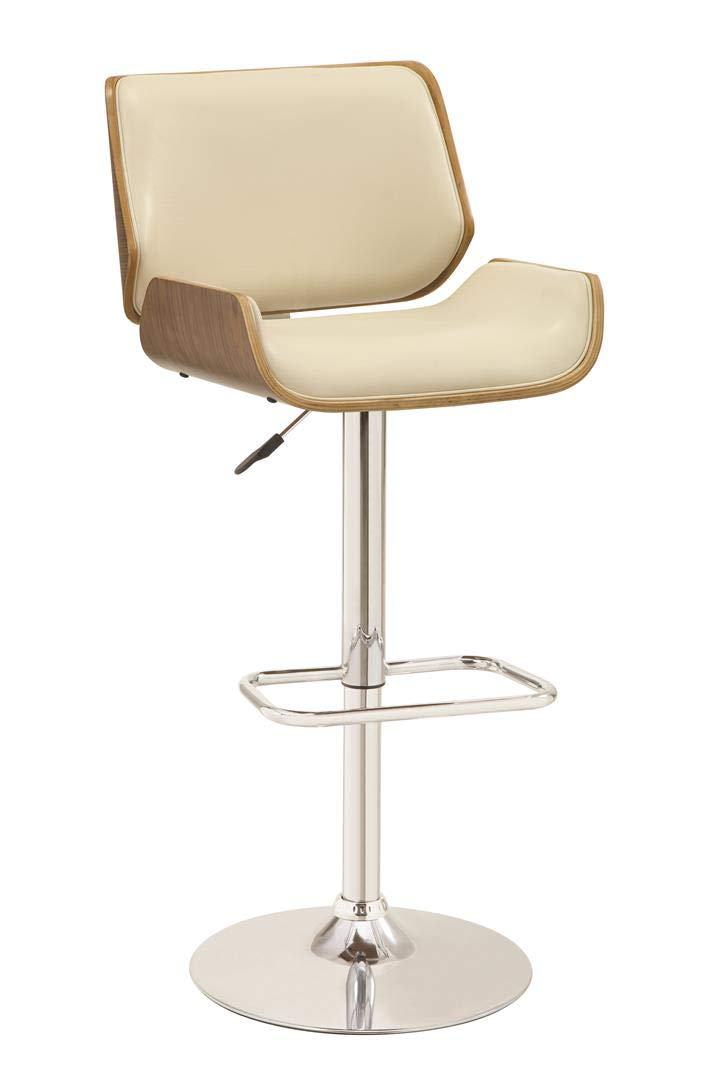 Adjustable Upholstery Bar Stool with Wood Back Ecru and Chrome by Coaster Home Furnishings