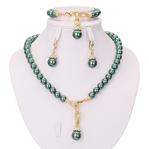(MOOCHI Simulated-Pearls Gold Plated Necklace Earrings Bracelet Jewelry Set)