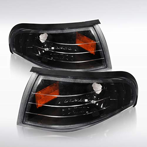 Autozensation For Ford Mustang Euro Crystal Black Front Corner Parking Lights Pair (Mustang Headlights Euro)