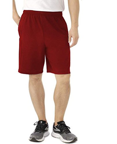 Worn 100% Cotton Short - Fruit of the Loom Men's Jersey Short with Side Pockets (X-Large, Cardinal)