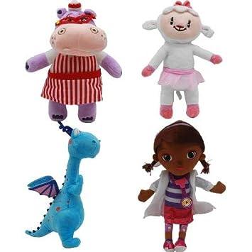 BeesClover 4pcs / Set Enfants Jouets Cadeau Docteur Doc McStuffins Dottie Hippo Moutons Animal en Peluche Peluche Poupée 28-34cm Enfants Cadeaux d'anniversaire 4pcs Set