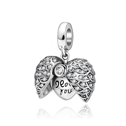 I Love You to the Moon and Back Heart Angle Wing Charms 925 Sterling Silver Dangle Charm for Bracelet, Mothers Day - Angle Wing Charm