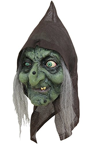 (Scary Green Old Hag Witch Woman Costume Mask with Hair and Hood for Halloween)