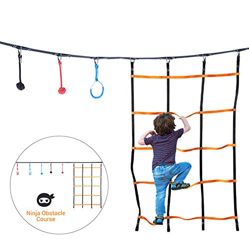 Ninja Hanging Obstacle Course,Jungle Gym Kids - 39 ft Slackline,2 Gymnastics Rings,3 Fists,Soft Ladder Warrior Training Obstacle Course Set Outdoor Activities