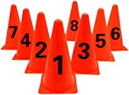 ASENVER 9 Inch Plastic Traffic Cones Sport Training Marker Cones 8 Pack Agility Sign Cones with Numbers