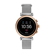 Fossil Women's Gen 4 Sloane HR Heart Rate Stainless Steel Mesh Touchscreen Smartwatch, Color: Rose Gold, Silver (FTW6043)