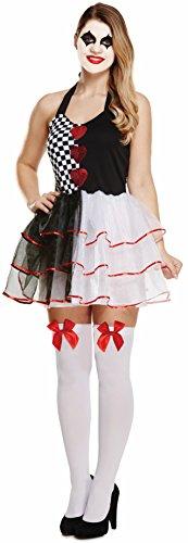 Halloween Adult Women's Evil Jester Fancy Dress Costume