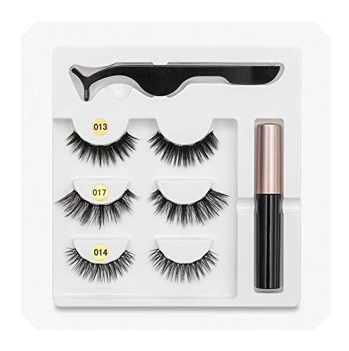 5 Magnet Eyelash Liquid Eyeliner& False Eyelashes & Tweezer Set Waterproof Long Lasting Eyelash Extension,mix001-1 (Best Waterproof Eyeliner In India)