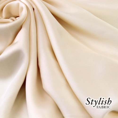 58 Ivory Crepe Back Satin Fabric by the Yard- 1 Yard by Stylishfabric   B00EUEWJV0