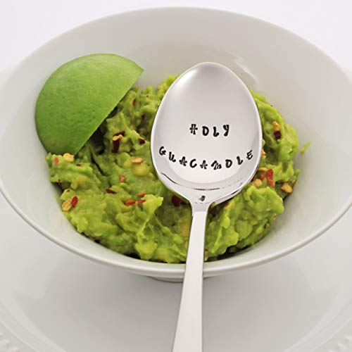 HOLY GUACAMOLE - Stainless Steel Stamped Spoon, Stamped Silverware - Foodie Gift for Avocado Lovers