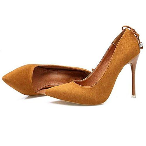 W&LM Sra Tacones altos De acuerdo Boca rasa Zapatos individuales En el talón Propina Ante Zapato Yellow