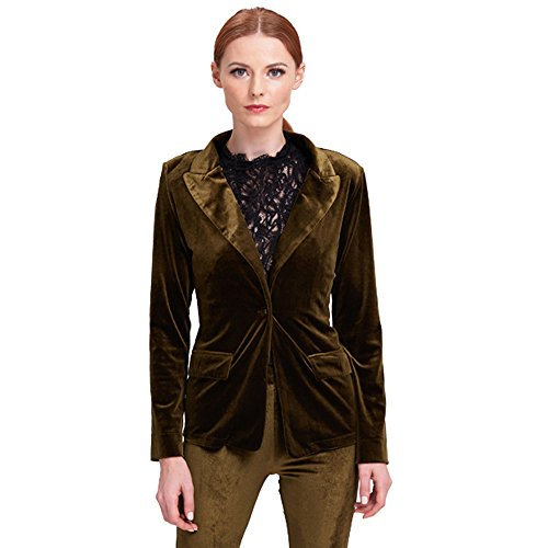 Blazer Velvet Womens (BELLA PHILOSOPHY Women's Velvet Blazer Jacket Warm Coat One Button Outwears Turn-down Collar Top Suit (M, Darkgreen))