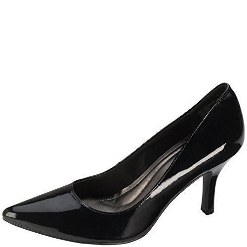 Comfort Plus By Predictions Womens Black Patent Janine Pointy Toe Pump 10 Wide