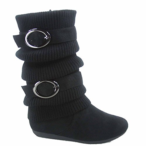Lucky Top Bank-21k Girl's Kid's Cute Sweater Top Low Flat Heel Zipper Boots Shoes (11, Black) (Boots Sweater Dresses)