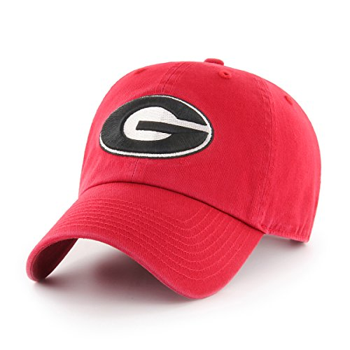 OTS NCAA Georgia Bulldogs Challenger Clean Up Adjustable Hat, Red, One Size