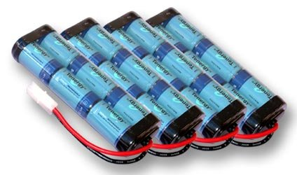 Tenergy Four 7.2V 3800mAh Flat NiMH High Power (38A Drain Rate) Battery Packs for RC Cars and Sumo Robots