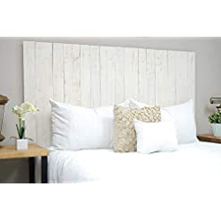 Bedroom Whitewash Headboard Queen Size Weathered, Hanger Style, Handcrafted. Mounts on Wall. Easy Installation farmhouse headboards