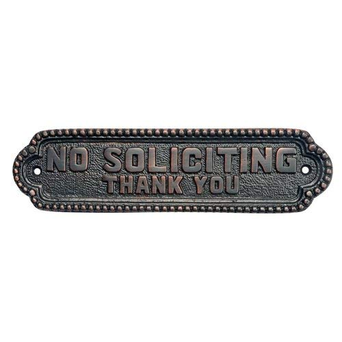 Adonai Hardware Georgian No Soliciting Brass Door Sign - Oil Rubbed Bronze by Adonai Hardware