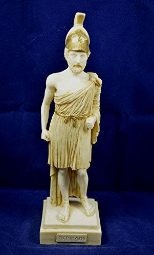 Ancient Greek Pericles sculpture Alabaster patina aged statue (White Alabaster Statue)