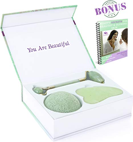 Jade Roller And Gua Sha Set + Konjac Sponge | Face And Neck Massager | Anti-Aging Therapy | Lymphatic Drainage | Depuffing | Dark Circles Under-Eye Treatment | Anti-Wrinkle Tools | 3-In-1 Beauty Kit