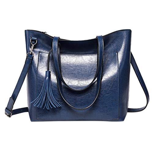 Shoulder Bags for Women Large Top-handle Handbag with Tassel Vintage PU Leather Tote Satchel Purse Crossbody Bags SIN+MON (Prada-outlet-online-shop)