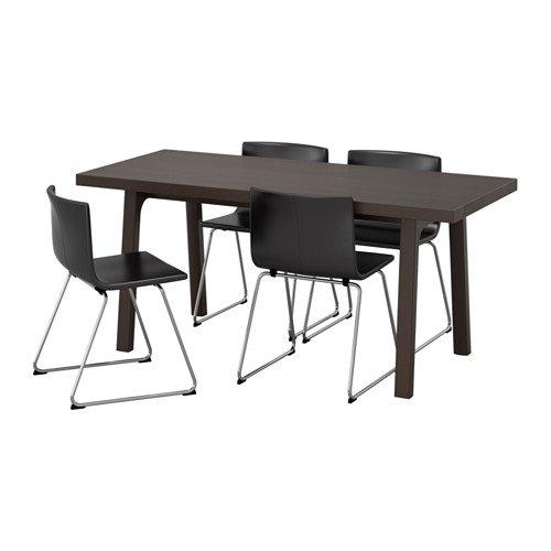 Ikea Table and 4 chairs, dark brown, Kavat dark brown 16204.261411.2222