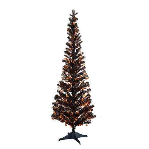 YuQi 5 Foot Black Tinsel Tree,Artificial Halloween Tree with Halloween Pumpkin Shimmering Sequins for Best Halloween Decoration Prop -