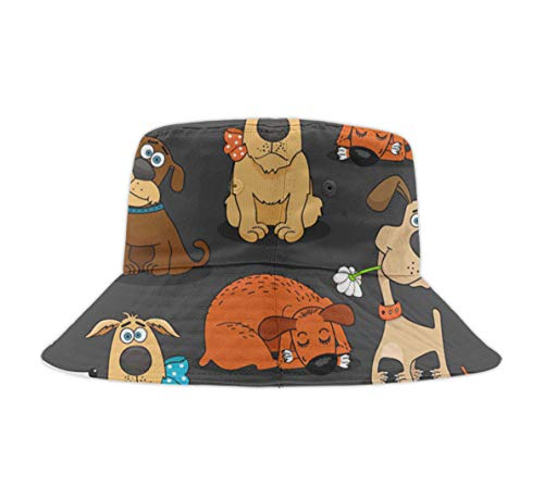 Unisex Washed Cotton Packable Fishing Summer Travel Bucket Hat Outdoor Cap Cute Bulldog Corgi and Pet Dogs