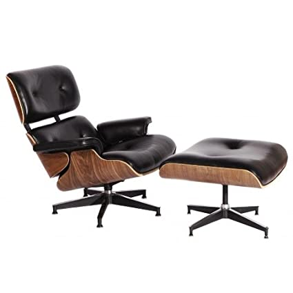 Superieur MCM Eames Style Lounge Chair With Ottoman Stool (Black)   High Quality  Aniline Leather
