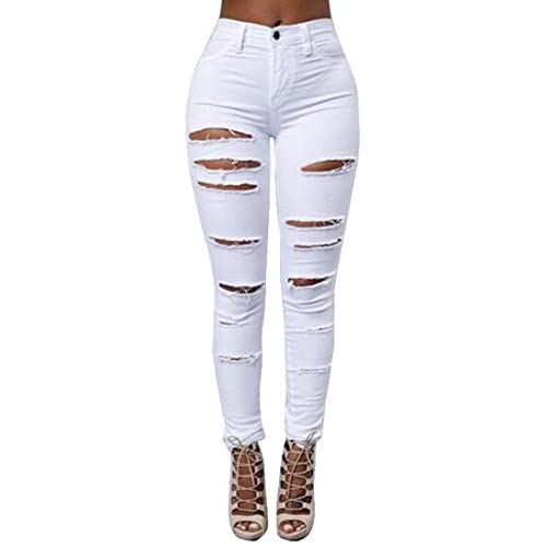 7f249afd27 SYTX Womens Bodycon High Waist Ripped Cutoffs Denim Pants Jeans hot sale  2017