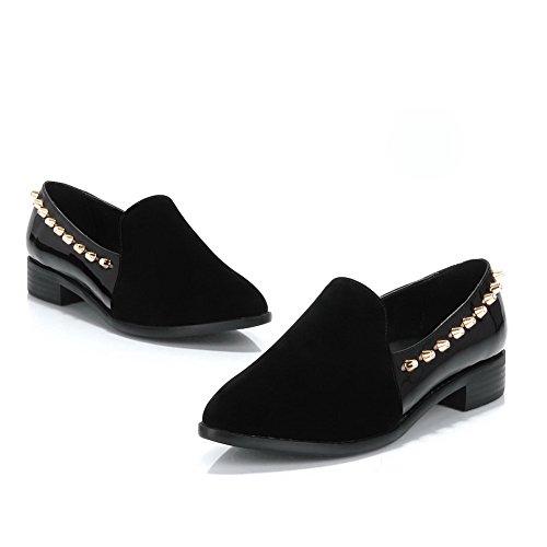 Amoonyfashion Zapatos De Tacón Con Punta Cerrada Y Punta Estrecha Para Mujer Con Suela De Goma Y Clavo De Metal Negro