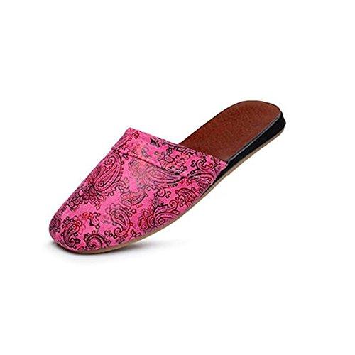 par Suelo Antideslizante TELLW Verano hogar Mujer de Zapatillas Zapatillas Retro Oto Rosa casa o Europeo Invierno y Primavera Madera fAq81