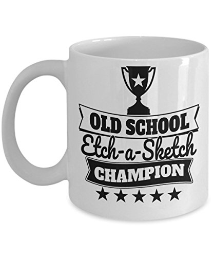 Nostalgia Mugs - Old School Etch-a-Sketch Champ - Fun Games and Hobbies from the Past - Premium Ceramic Coffee Cup - 15oz Ceramic Coffee Cup - Appreciation Birthday Stocking ()