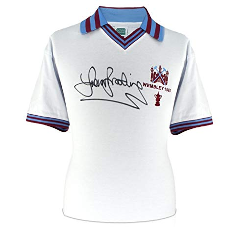 (Sir Trevor Brooking Signed West Ham United 1980 FA Cup Soccer Jersey | Autographed Memorabilia)