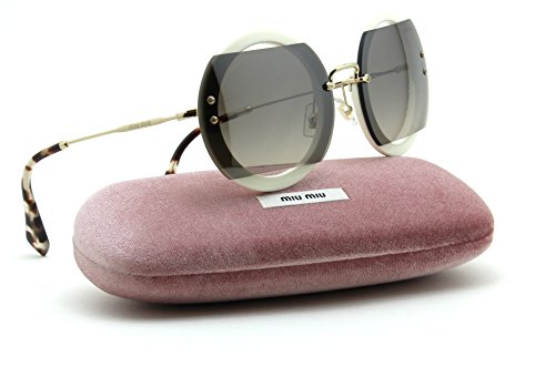 Miu MIu 06SS REVEAL Womens Gradient Glitter Sunglasses 2017 Collection (Gradient Grey Mirror Silver VAG-4P0, - Round Glitter Sunglasses Miu Miu