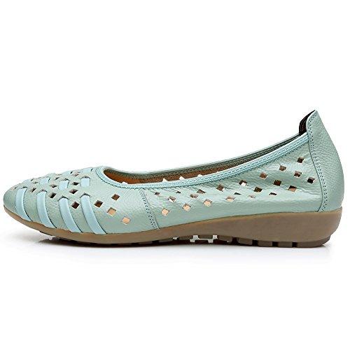 Rismart Mujer Hueco Comodidad Ponerse Espacio De Trabajo Inteligente Cuero Mocasines Zapatos Azul Claro