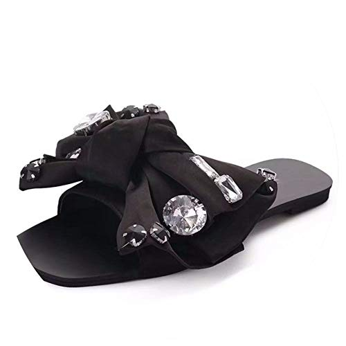 Crystal Bowie Slippers Sandals Women Shoes Peep Toe Women Slides Ladies Outdoor Party Leather Flats Black ()