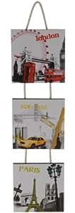 Conjunto de 3 cuadro de madera - New York - París - Londres - 14 x 14 cm cada uno - diseño