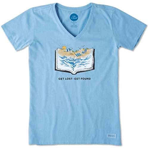 Life is Good Women's Beach Book Crusher Vee Powder Blue Medium ()