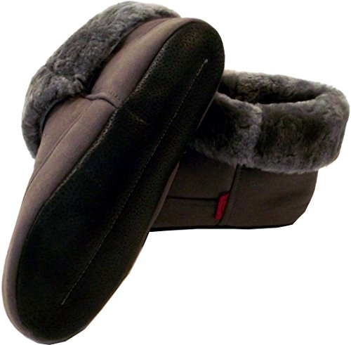 Zapatillas de casa de piel de oveja MILAN gris unicolor