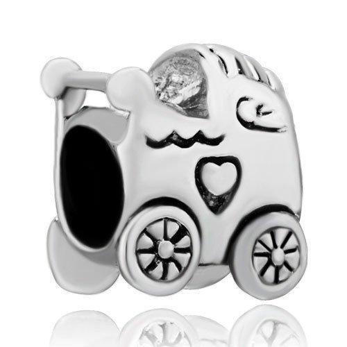 De cochecito bebé Pugster de corazón amante de coche cuenta para pulsera: Amazon.es: Joyería