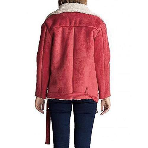 Tasca Vento Cashmere Cappotto Agnello Cappotti Red Outdoor Trench Donna Inverno Watermelon Morwind Caldo Zip Giacca Lungo Manica Lunga FqB7wZ