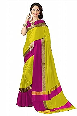 34e58c7c6e5b1 Abhishek Art Women s Yellow   Pink Colour Cotton Silk Saree With Blouse  Piecs  Amazon.in  Clothing   Accessories