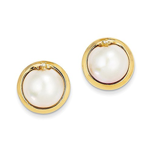 14k Yellow Gold 10-12mm Cultured Mabe Pearl And Diamond Earrings (0.03ct H/SI2) (Gold Yellow Mabe Pearl 14k)