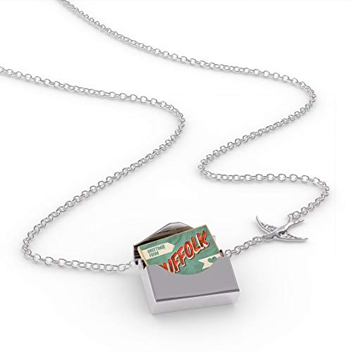 NEONBLOND Locket Necklace Greetings from Suffolk, Vintage Postcard in a Silver Envelope